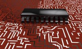 Elektronische Schaltung, Chip vorbildliches 3d übertragen Lizenzfreies Stockfoto