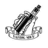 Elektronische sigaret en vloeistof, Vape-winkel vector zwart-wit kentekens, emblemen royalty-vrije illustratie