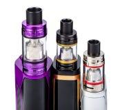 Elektronische sigaretteninzameling op wit Stock Afbeelding