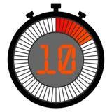 elektronische Stoppuhr mit einer Steigungsskala, die mit Rot beginnt 10 lizenzfreie abbildung