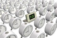 elektronische Stunden 3d nahe zu den alten Stunden Stockfotografie