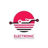 Elektronische technologie - vector bedrijfsembleemmalplaatje voor collectieve identiteit Abstract spaanderteken Mondiaal net, Int Royalty-vrije Stock Afbeelding