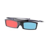 Elektronische three-D Brillen für LCD-Fernsehen lokalisiert auf Weiß Stockbilder