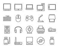 Elektronische und analoge Geräte Grundgestalt einfache lineare Ikonen Lizenzfreies Stockfoto
