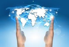 Elektronische Weltkartenkommunikation stockbild