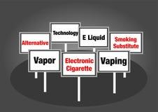 Elektronische Zigarettenzeichen stockfotos