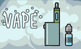 Elektronische Zigarettenzerstäuber mit Flüssigkeit Stockfoto
