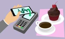 Elektronischer Geschäftsverkehr Die goldene Taste oder Erreichen für den Himmel zum Eigenheimbesitze Handy, der online für Kaffee Stockfotografie