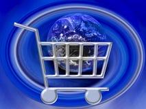 Elektronischer Geschäftsverkehr - Einkaufswagen-Internet WWW stock abbildung