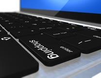 Elektronischer Geschäftsverkehr, Laptoptastatur mit Einkaufentaste Stockfoto
