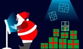 Elektronischer Geschäftsverkehr: Weihnachtsmann-Kaufen auf Zeile lizenzfreie abbildung
