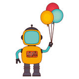 Elektronischer Roboter mit Ballonpartei-Kartenikone Lizenzfreies Stockbild