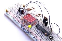 Elektronischer Versuchsaufbau Stockfotos