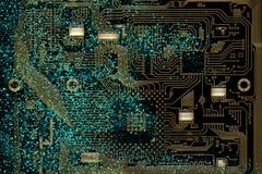 Elektronischer Vorstand des Kreisläufs Computerhardwareteil Digitaler Chip des Motherboards Integrierter CPU-Mikrochip lizenzfreie abbildung