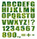Elektronisches Alphabet mit Zeichen und Digits vektor abbildung