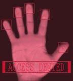 Elektronisches biometrisches Fingerabdruckscannen Stockfotografie