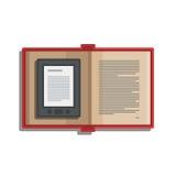 Elektronisches Buch des Tablet-Computers für das Ablesen der Ikone Stock Abbildung