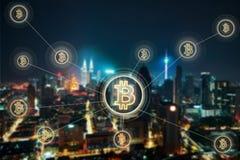 Elektronisches Geld, blockchain Übertragungen und Finanzkonzept Stockfotografie