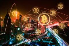 Elektronisches Geld, blockchain Übertragungen und Finanzkonzept Stockbilder