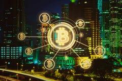 Elektronisches Geld, blockchain Übertragungen und Finanzkonzept Stockbild