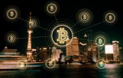 Elektronisches Geld, blockchain Übertragungen und Finanzkonzept Stockfoto