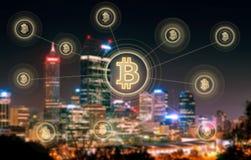 Elektronisches Geld, blockchain Übertragungen und Finanzkonzept Lizenzfreies Stockbild