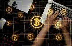 Elektronisches Geld, blockchain Übertragungen und Finanzkonzept Stockfotos
