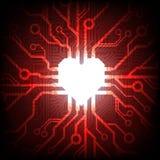 Elektronisches verbundenes Herz des Vektors Stockfotos