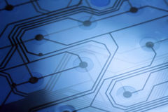 elektronisk brädeströmkrets för 3 blue Arkivfoto