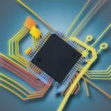 Elektronisk chip och strömkrets Arkivfoto