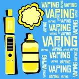 Elektronisk cigarett med flytande och moln som vaping Royaltyfri Fotografi