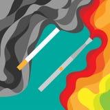 Elektronisk cigarett- och tobakfördel som vaping Arkivbild