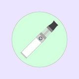 Elektronisk cigarett som vaping, dunst, vård- medicinsk enkel plan vektor Royaltyfria Foton