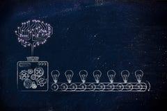 Elektronisk hjärna på en produktionslinje av idéer Royaltyfria Bilder