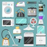 Elektronisk homeappliance för kök för vektor för hushållanordningar för husuppsättningkylskåp eller tvagningmaskin i elkraft royaltyfri illustrationer