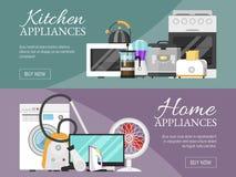 Elektronisk illustration för vektor för baner för hushållanordningar Kök och hem- utrustning för hus st royaltyfri illustrationer