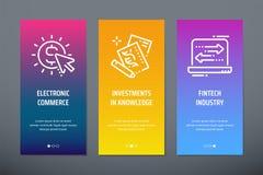 Elektronisk kommers, investeringar i kunskap, vertikala kort för Fintech bransch med starka metaforer royaltyfri illustrationer