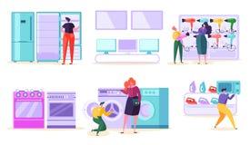 Elektronisk konsument för detaljistSale marknad KundköpTV och mikrovåg i tecken för teknologisupermarketman stock illustrationer