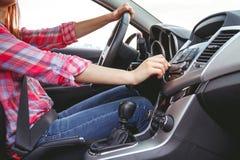 elektronisk navigering för bilkonsolinstrumentbräda Radiocloseup Fotografering för Bildbyråer