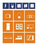 Elektronisk objektsymbolsuppsättning Stock Illustrationer
