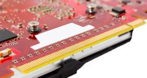 Elektronisk samling - kontaktdonvideocard för data PCI-e Arkivbilder
