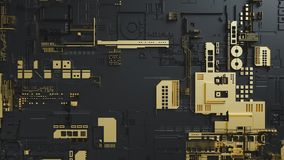 Elektronisk strömkrets med guld på svart bakgrund royaltyfri fotografi