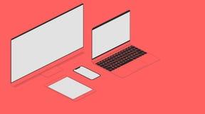 Elektronisk teknologi i isometry med en röd färg Bildskärmbärbar datorsmartphone och minnestavla med den vita skärmen på tabellen royaltyfri illustrationer