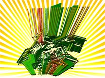 elektronisk värld för vektor 3d vektor illustrationer