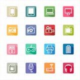 Elektroniska apparater för plana symboler och vit bakgrund Royaltyfri Fotografi