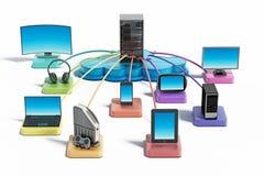 Elektroniska apparater förbindelse till molnnätverket illustration 3d Arkivfoton