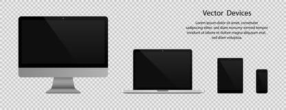 elektroniska grejer Realistisk datorbildskärm, bärbar dator, minnestavla och telefon med den svarta skärmen på genomskinlig bakgr stock illustrationer