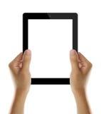 elektroniska händer som rymmer PCtableten Arkivfoto