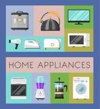 Elektroniska hushållanordningar ställde in av banervektorillustration Kök och hem- utrustning för hus tv vektor illustrationer