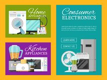 Elektroniska hush?llanordningar st?llde in av banervektorillustration K?k och hem- utrustning f?r hus tv?tt stock illustrationer